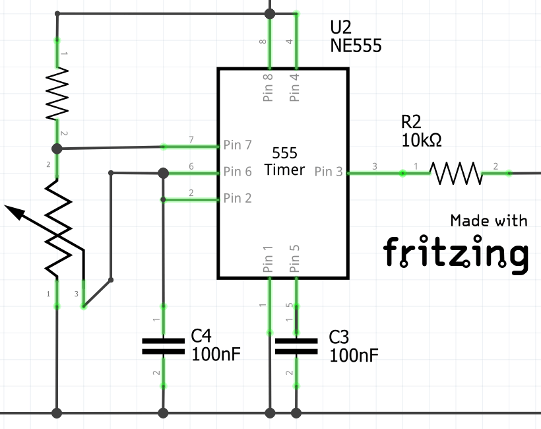 Typical 555 astable circuit