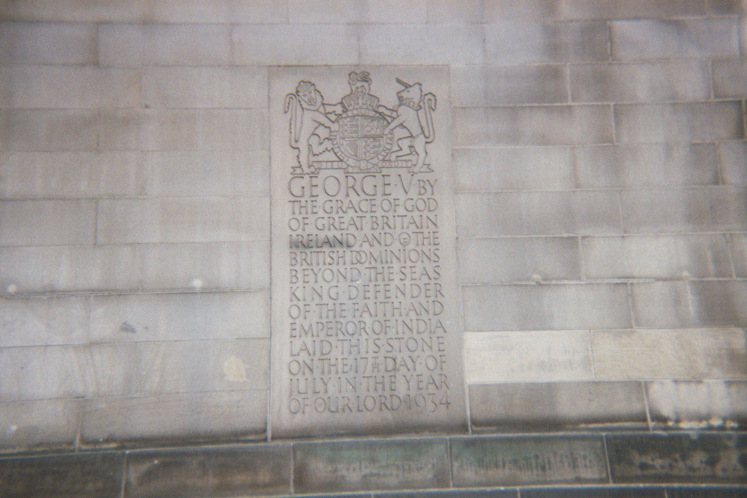 Plaque from the opening of Central Library, St Peters Square, Manchester