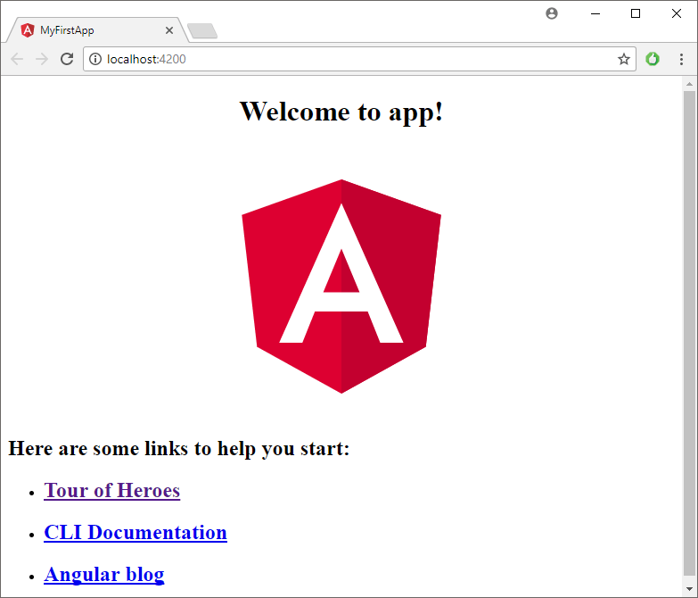 New Angular app in browser