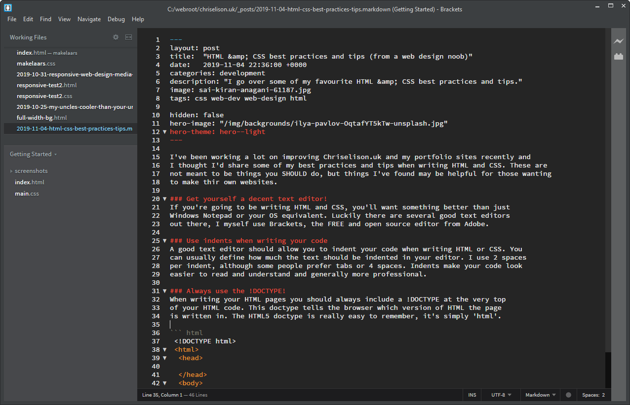 The Brackets text editor