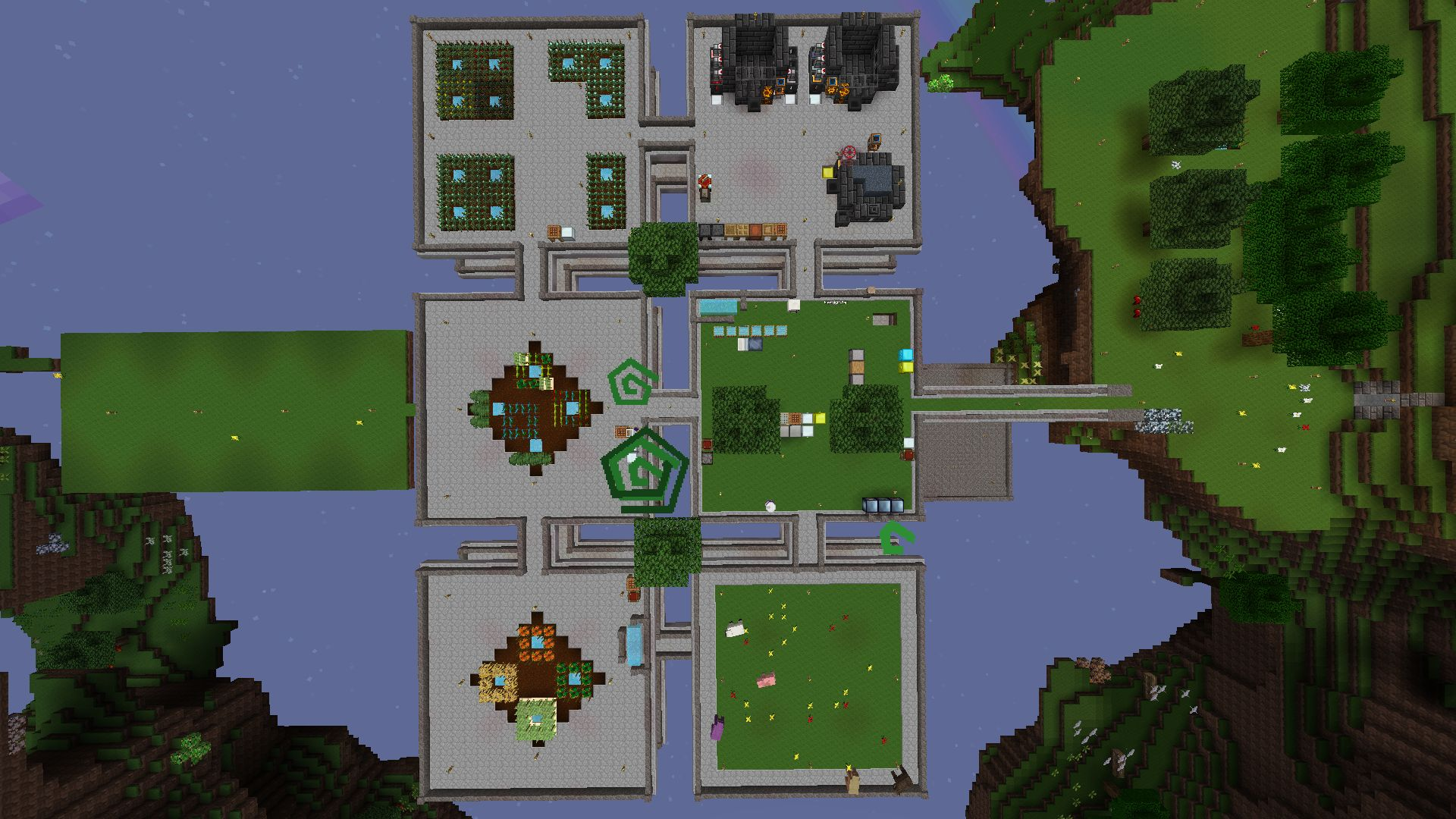 A bird's-eye view of the skyblock