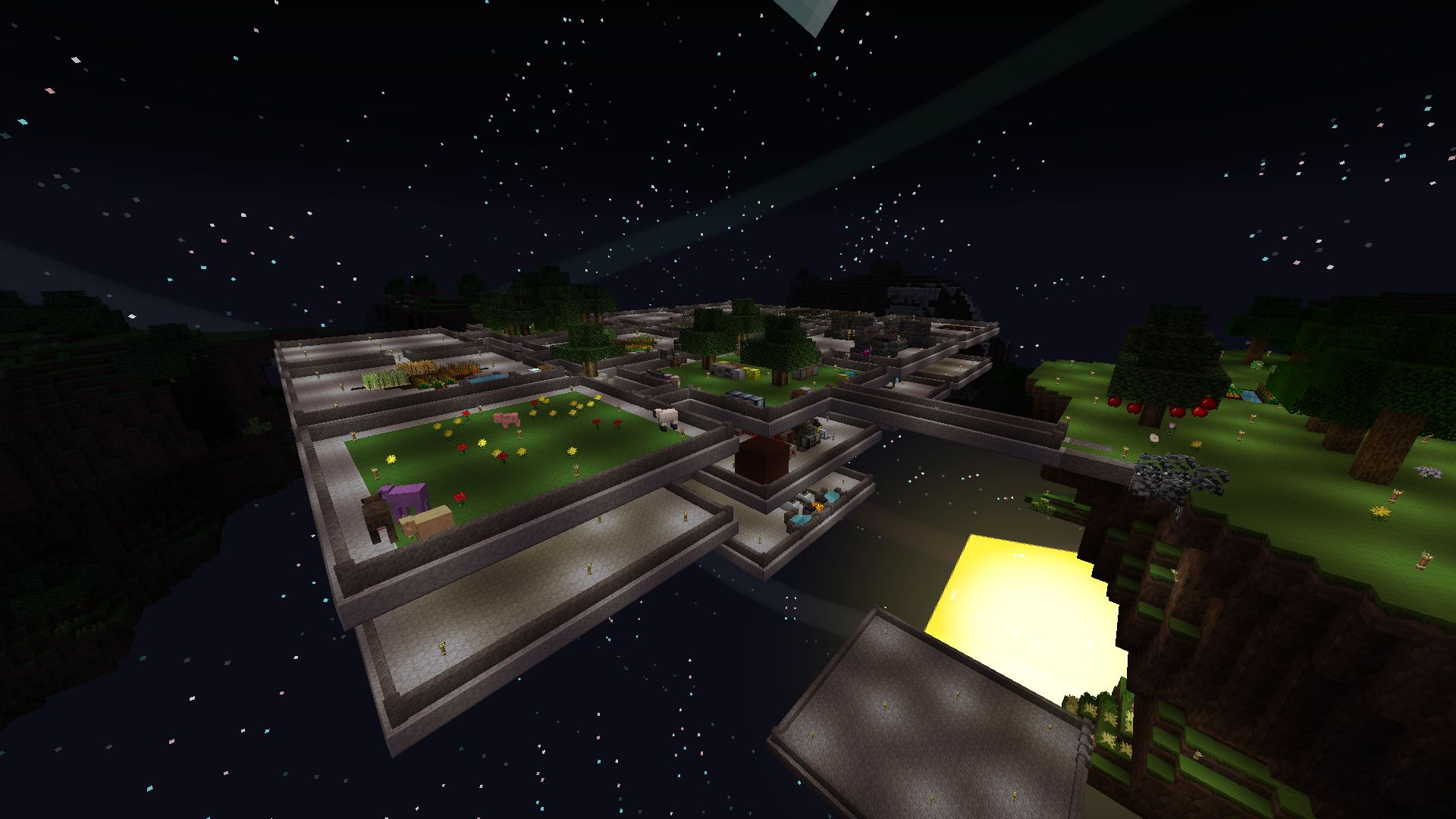 The skyblock at night