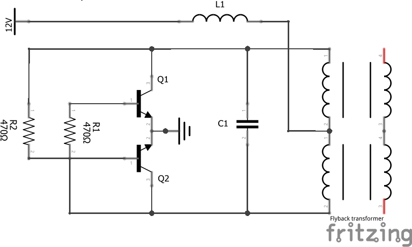 flyback transformer wiring diagram my first flyback driver with a royer oscillator christopher elison  flyback driver with a royer oscillator