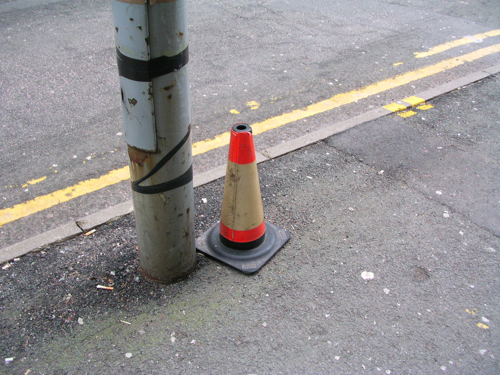 Traffic cone, Hanover Street, Manchester