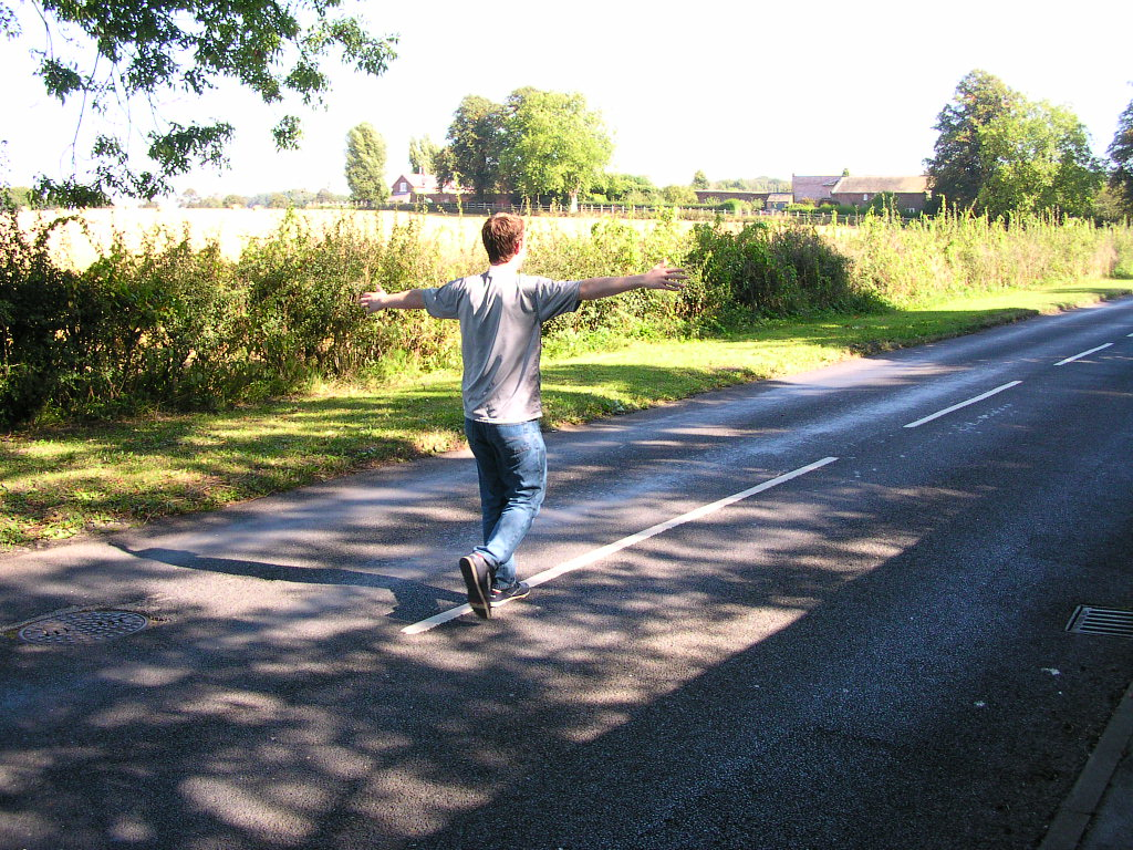 Running on the road, Dunham Massey, Cheshire