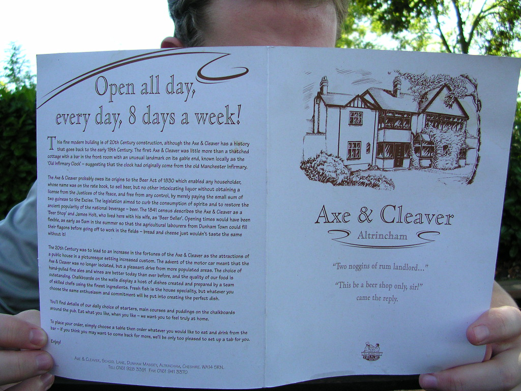 The Axe & Cleaver pub menu, Dunham Massey, Cheshire