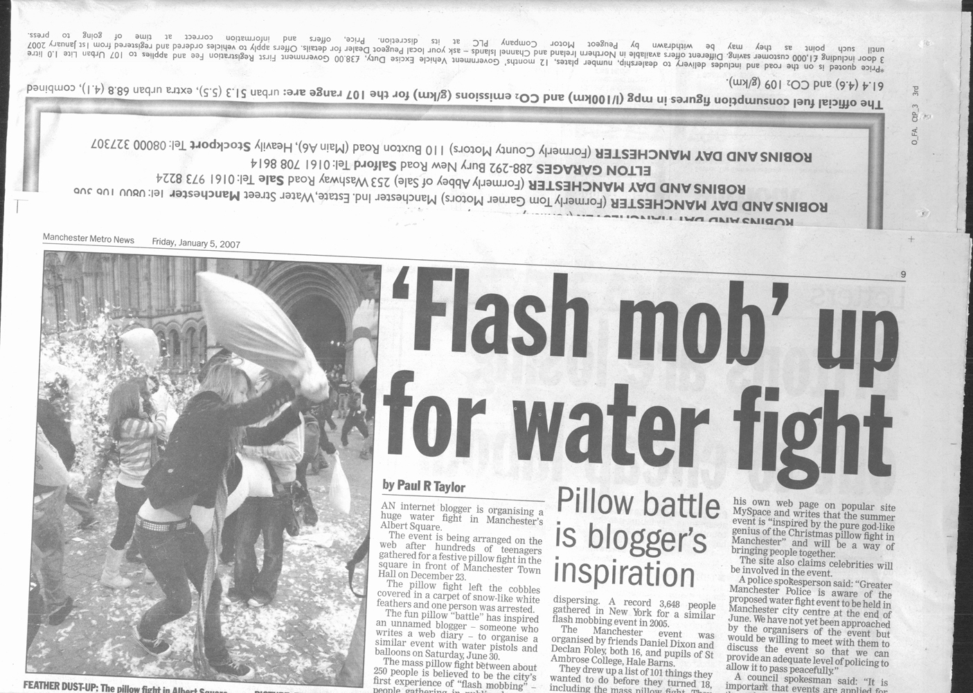 Manchester Pillow Fight newspaper article