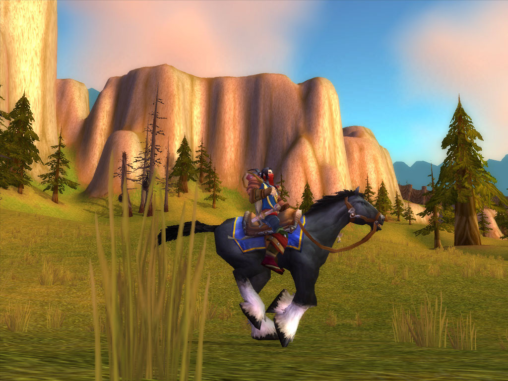 World of Warcraft human rogue riding in Mulgore